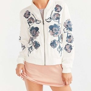 Urban Outfitters Molly Floral Bomber in White